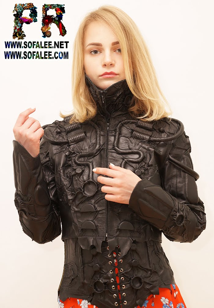 women's real leather black corset collar 00