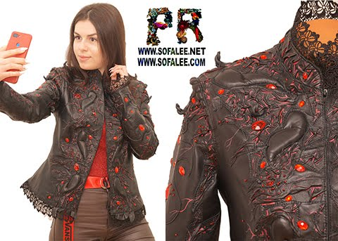 "№ 228 Women's real black leather jacket with red crystals ""Romania""."