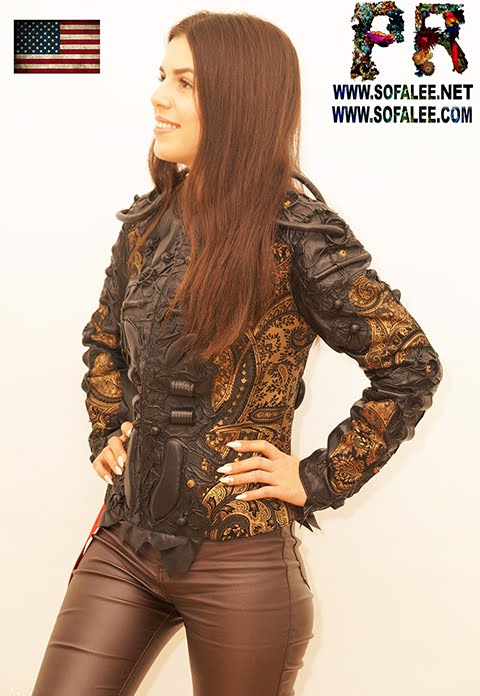 "№229 Bronze black color genuine leather jacket collared ""Acrux-X"""