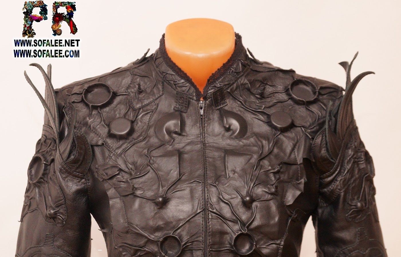 luxury genuine leather jacket black bell sleeves 1