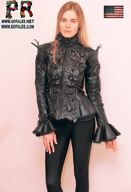 """№230 Black genuine leather jacket """"Sevil"""" with sleeves bells by Sofalee"""