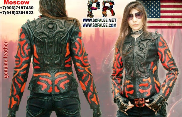 "№202 womens jacket The best genuine leather-""Z-US-7"" alien style fantastic color black red exclusive handmade by Sofalee!"