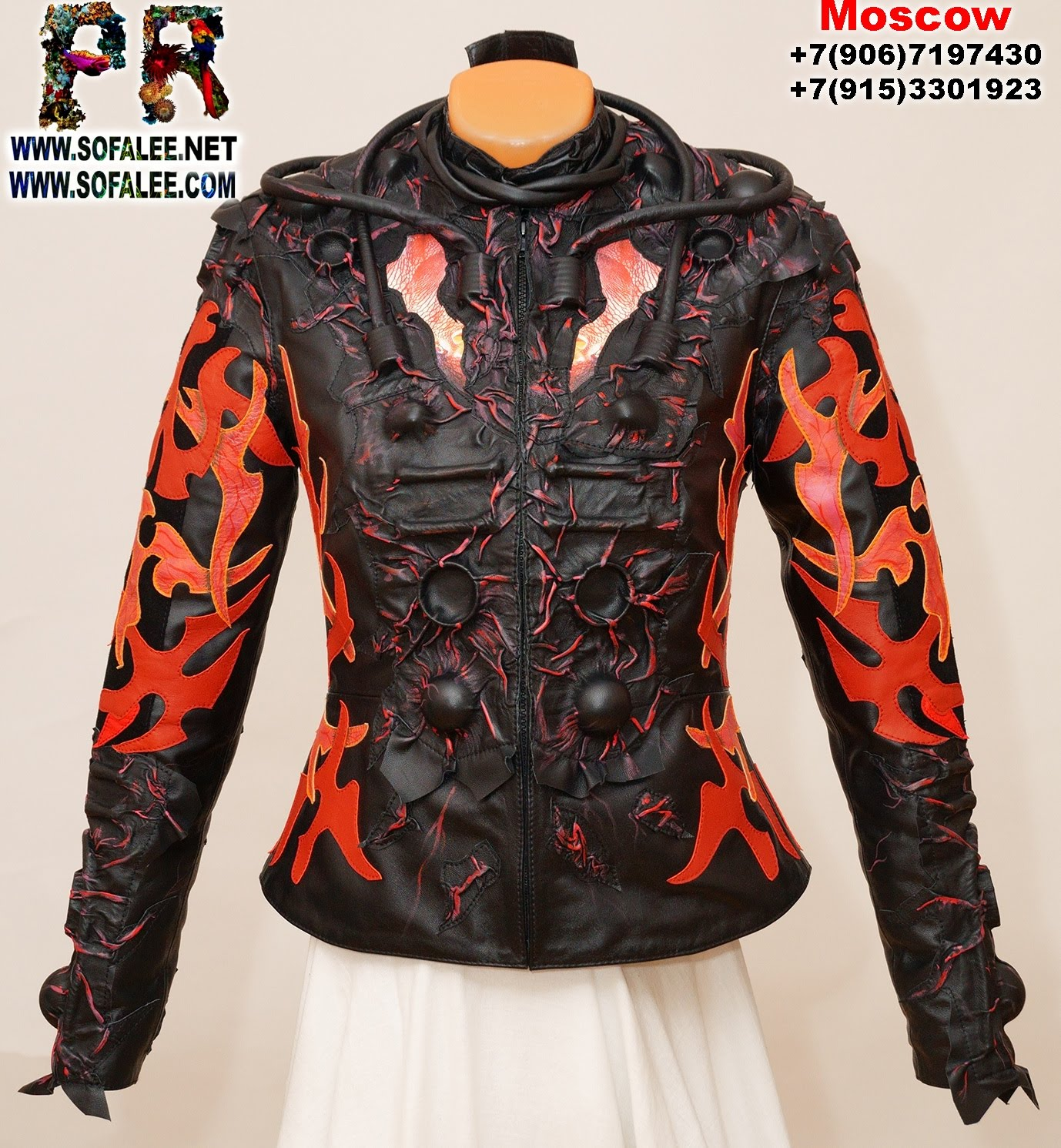 Chic women's genuine leather jacket black red 011