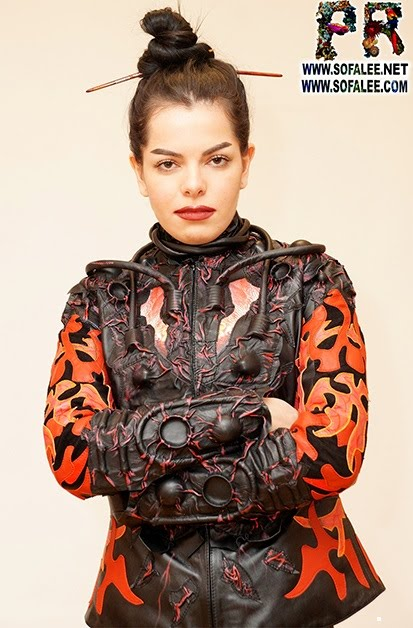 "№231 Unique women's jacket of real leather ""Cyberpunk-Orion"""