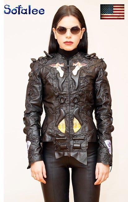 """№232 Luxury women's genuine leather cyberpunk """"US-2020"""""""