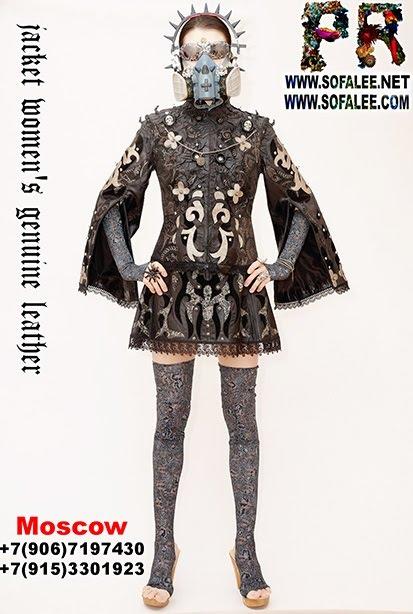 "№235 Women's real leather jacket cape black silver ""Kvitka"""