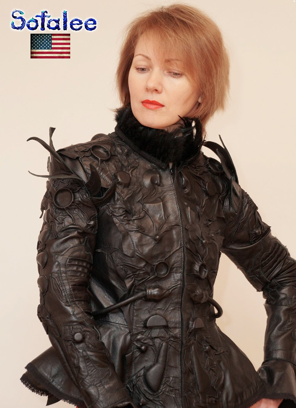 Jacket by Sofalee color black .  jacket for women  genuine leather fitted modern. exclusive work