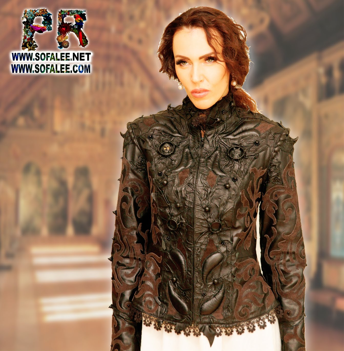 clothes for women by sofalee genuine leather jacket handmade exclusive plant weaving pattern