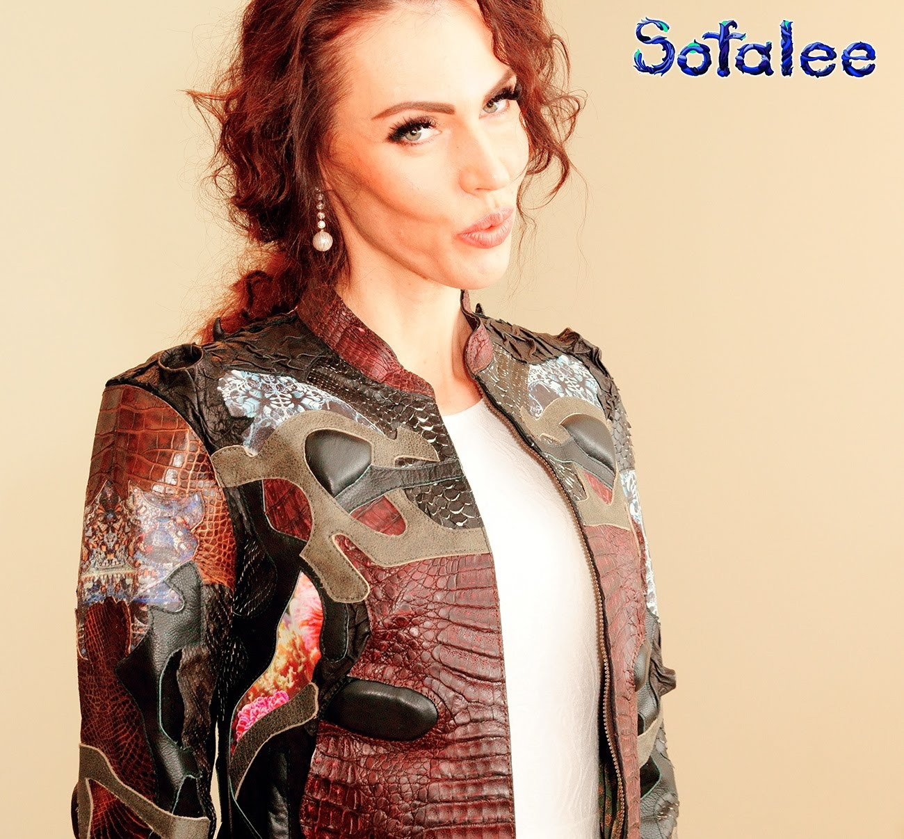 clothes for women by sofalee genuine leather crocodile python jacket handmade exclusive