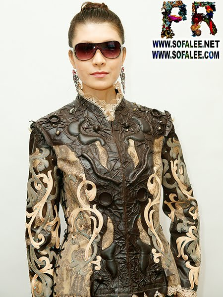 exclusive handmade jacket fitted, with lace.Genuine leather clothes for women girls.