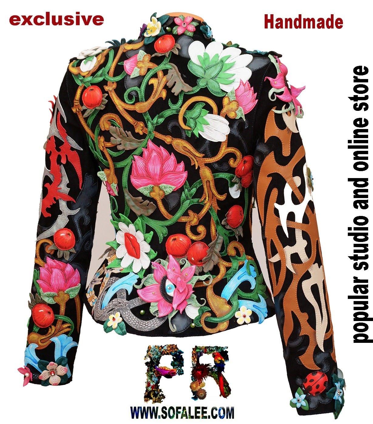 Back Unique women's genuine leather floral jacket 0