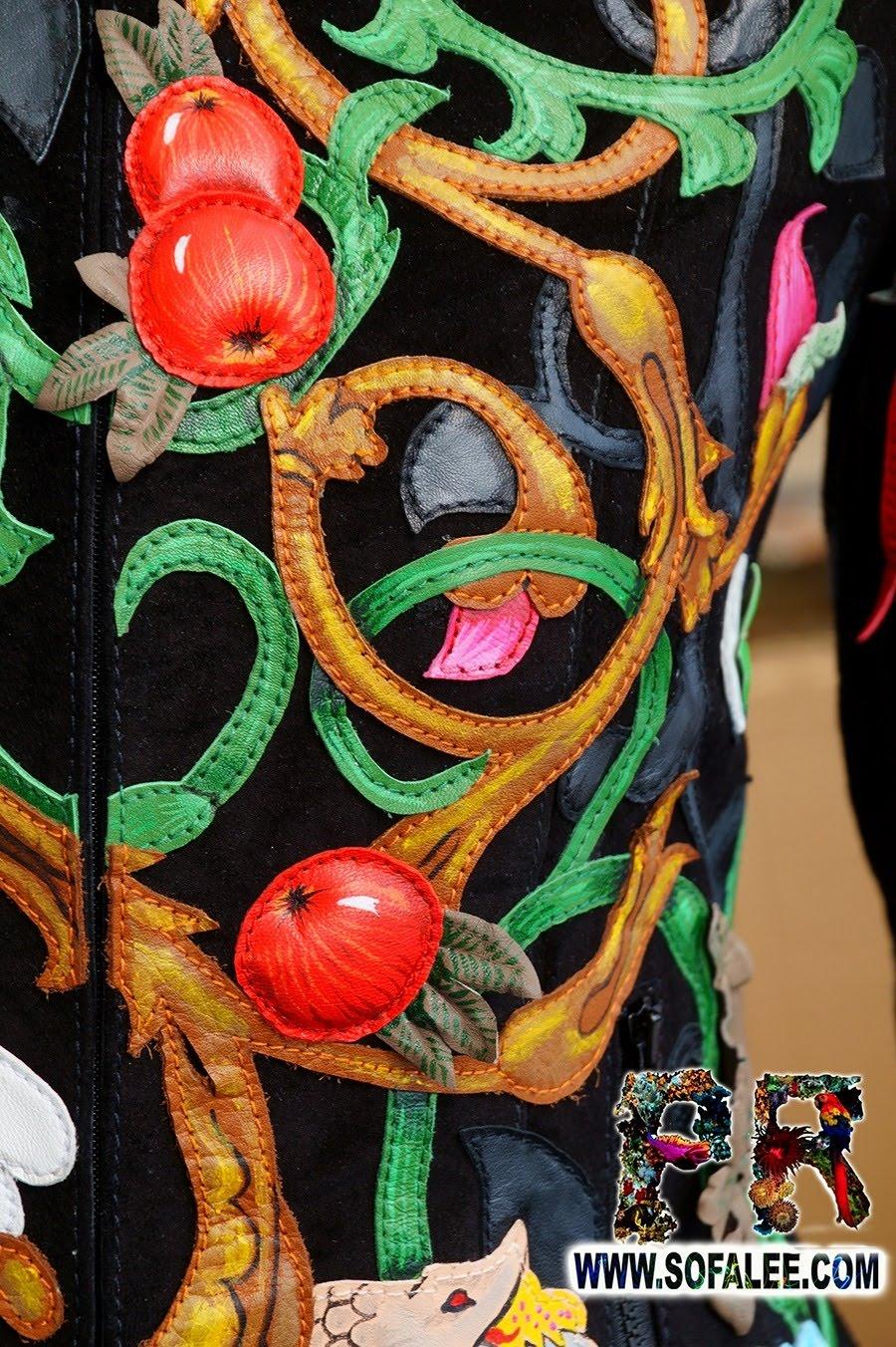 Unique women's genuine leather floral jacket 01