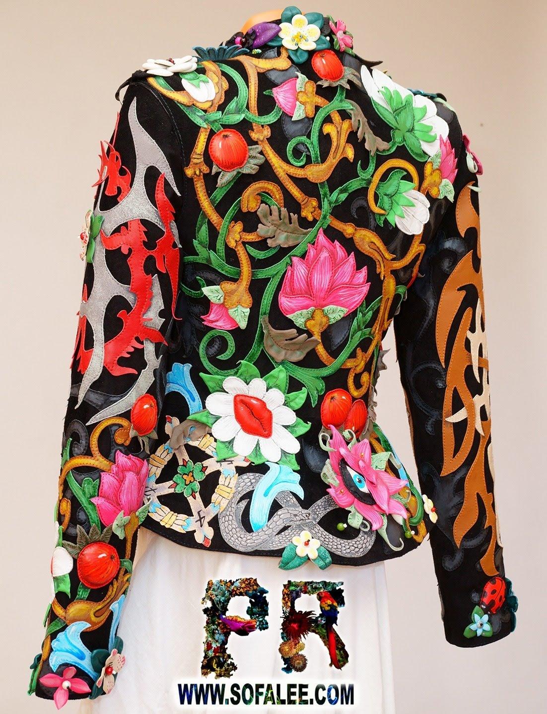 Unique women's genuine leather floral jacket 012