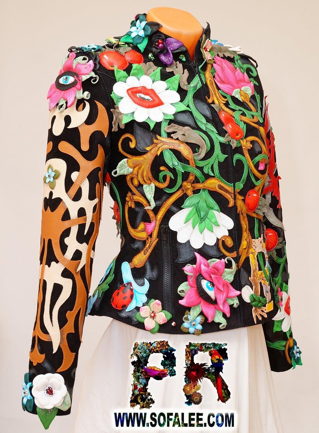 Unique women's genuine leather floral jacket 011
