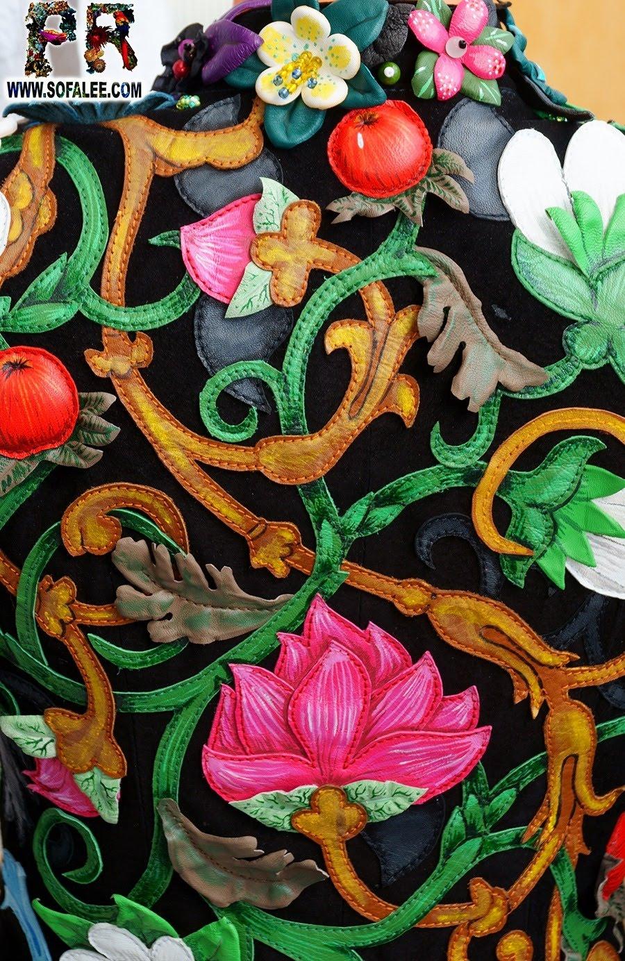 Unique women's genuine leather floral jacket 001
