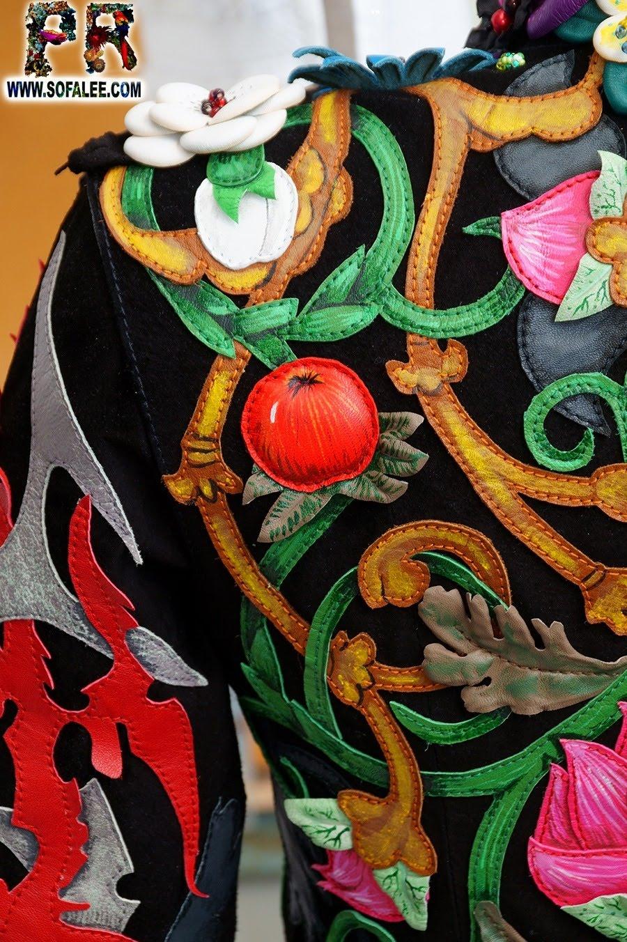 Unique women's genuine leather floral jacket 06
