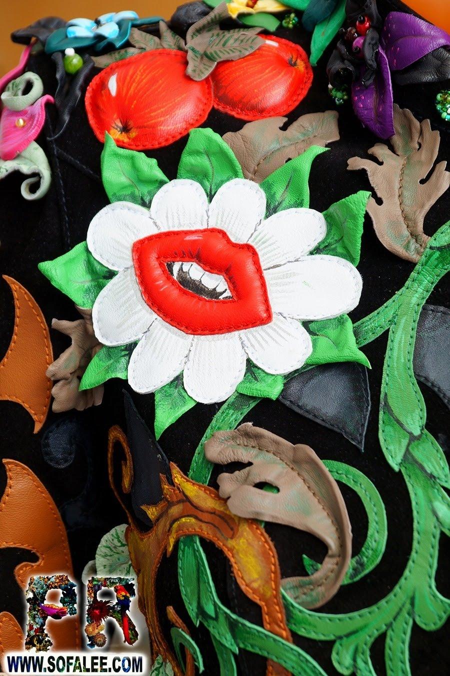 Unique women's genuine leather floral jacket 000011