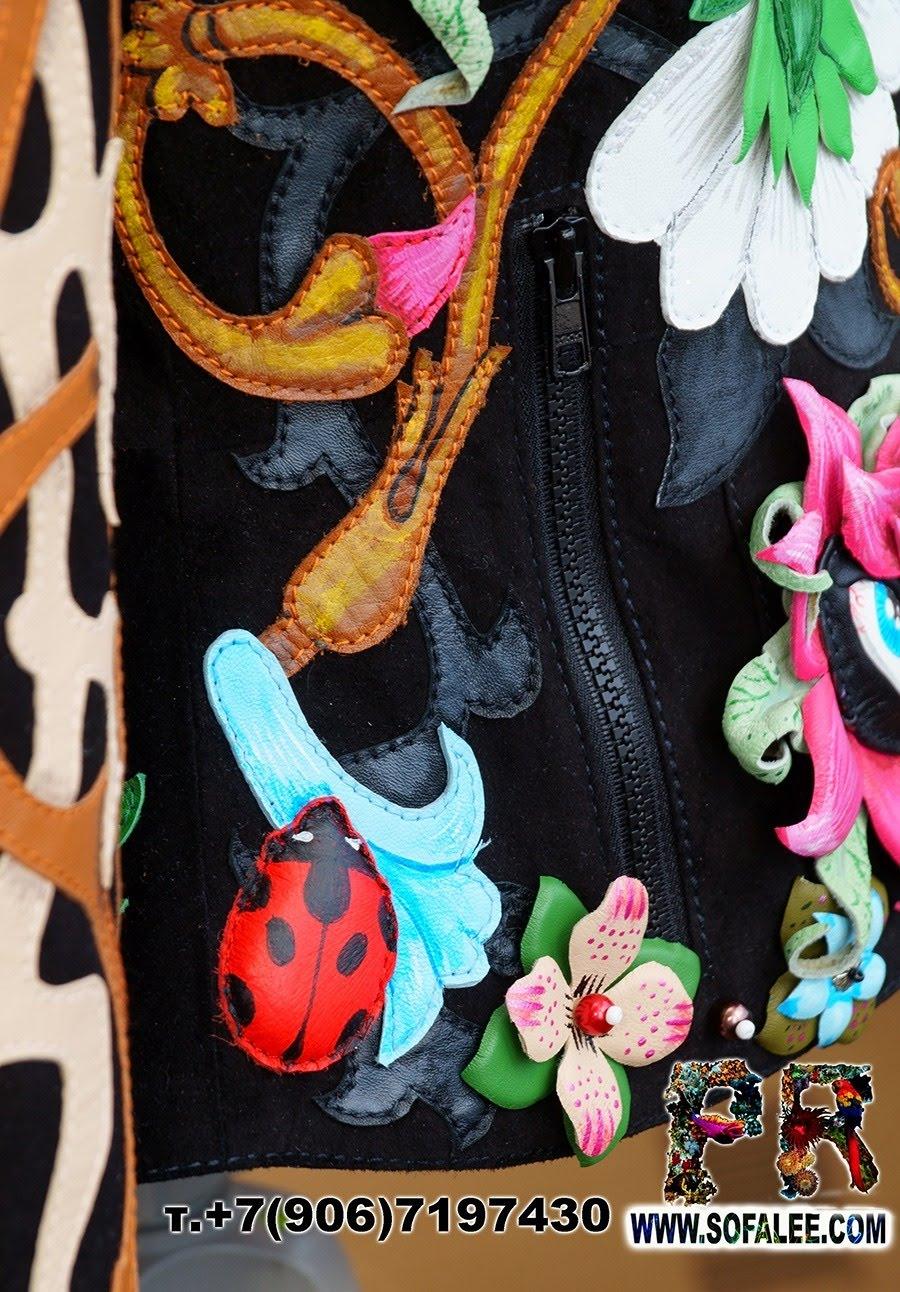 Unique women's genuine leather floral jacket 04