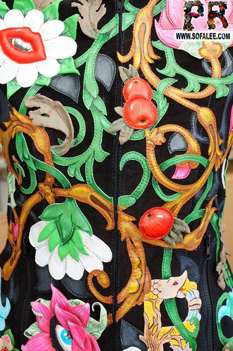Unique women's genuine leather floral jacket 05