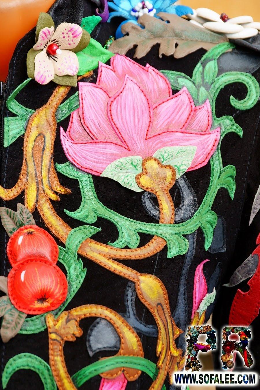 Unique women's genuine leather floral jacket 08