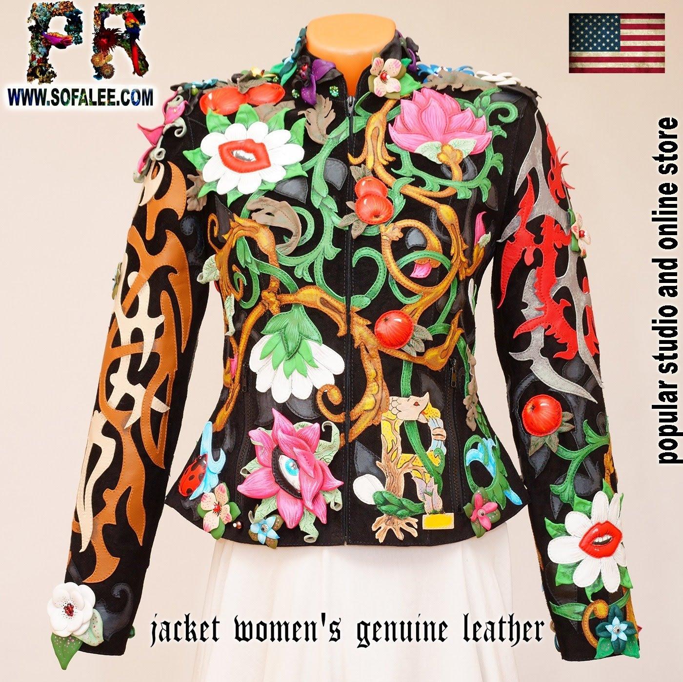 Unique women's genuine leather floral jacket 0