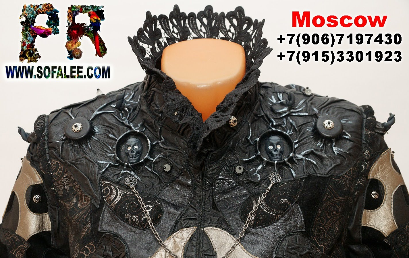 Luxury women's genuine leather jacket with lace 01