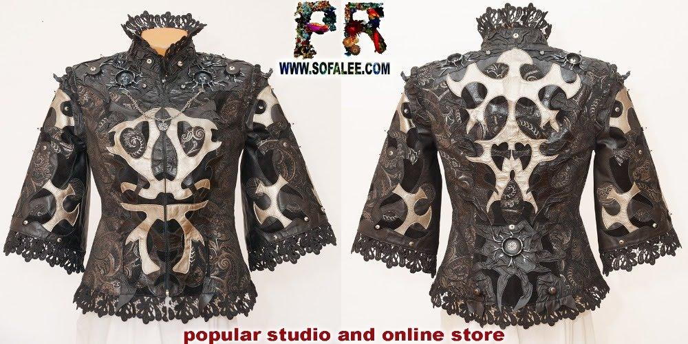 "№239 Women's jacket silver-black, short sleeves, lace ""Argenti anima""."