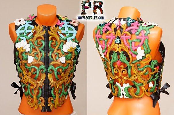 №237 Stylish women's genuine leather vest