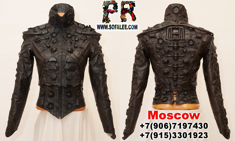 black women's genuine leather bolero corset collar 033