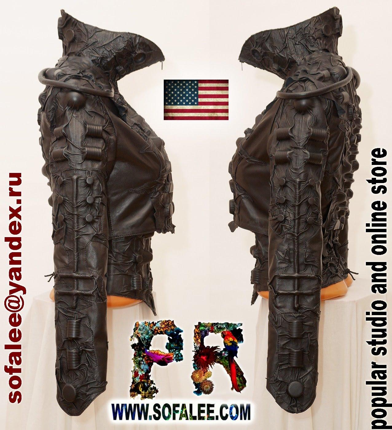 black women's genuine leather bolero corset collar 000011