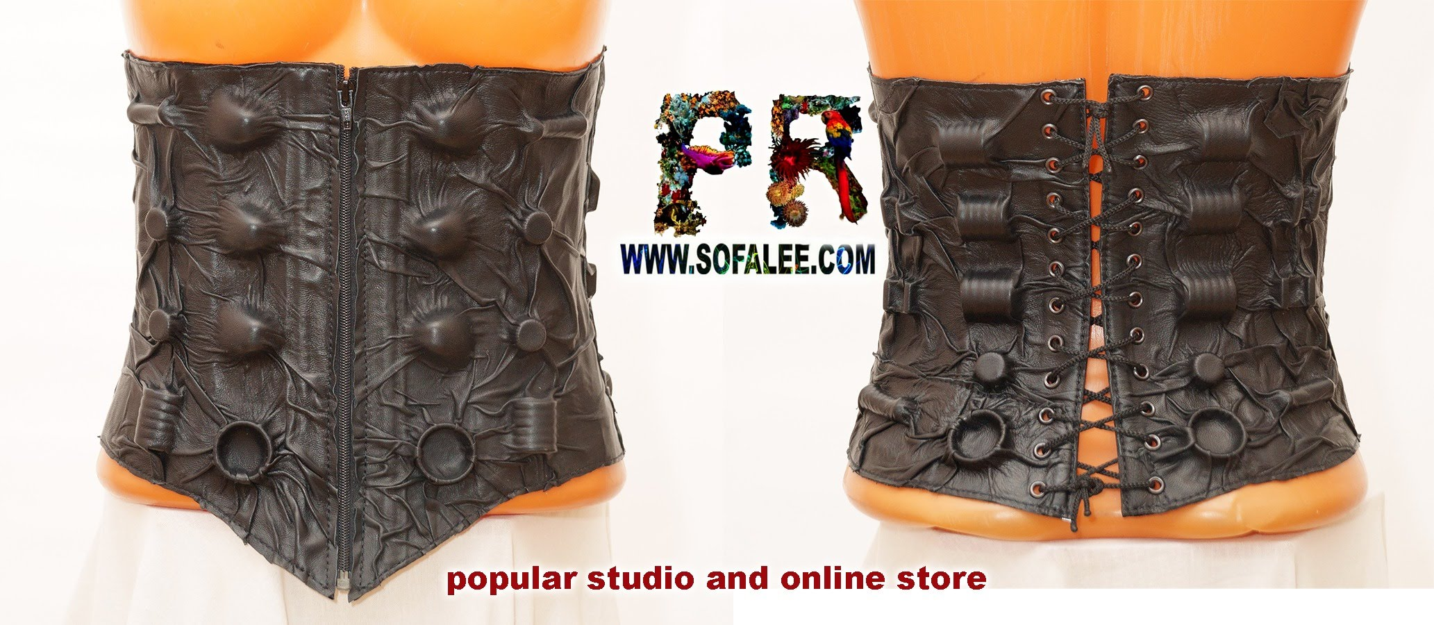 black women's genuine leather bolero corset collar 011