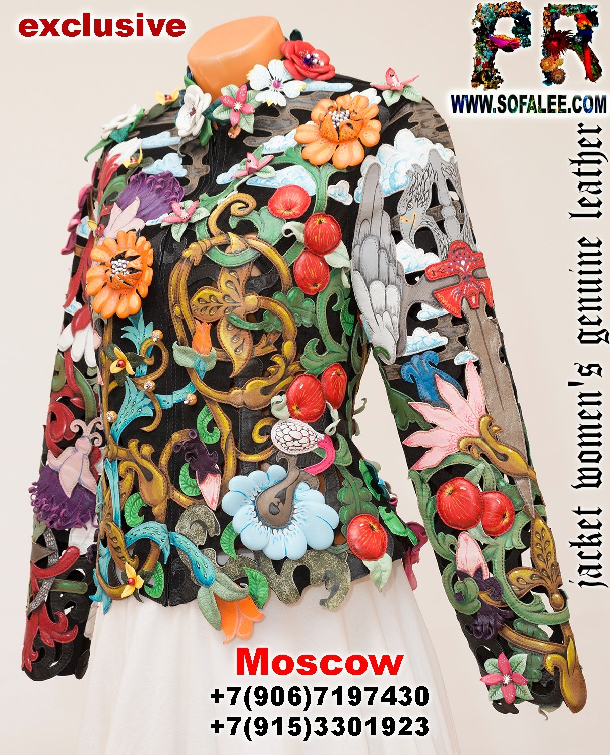 women's floral genuine leather perforation jacket by sofalee 1001
