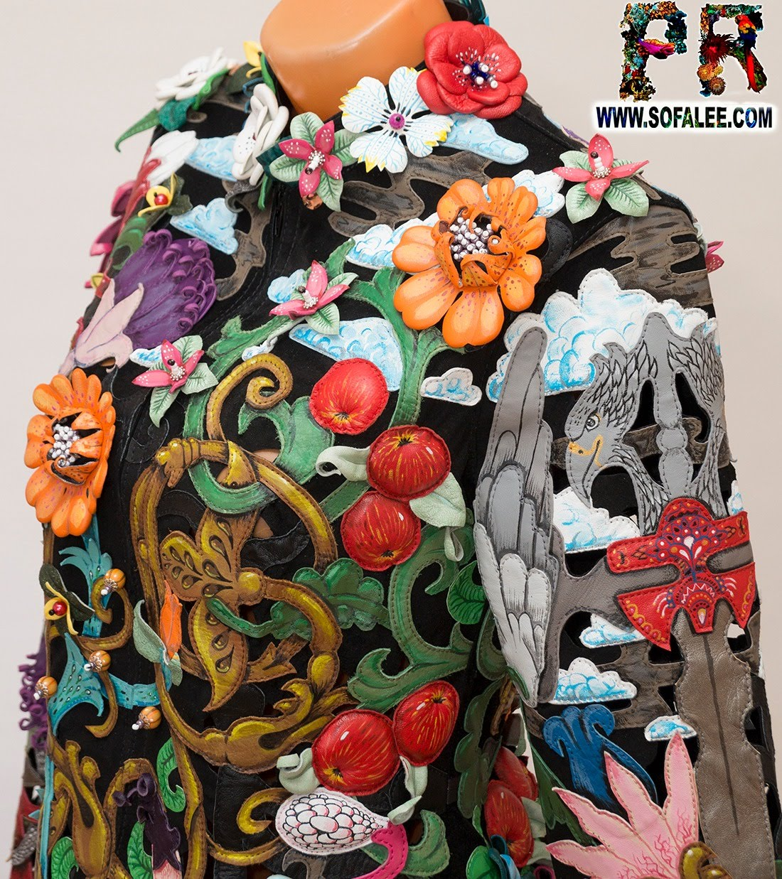 women's floral genuine leather perforation jacket by sofalee 19