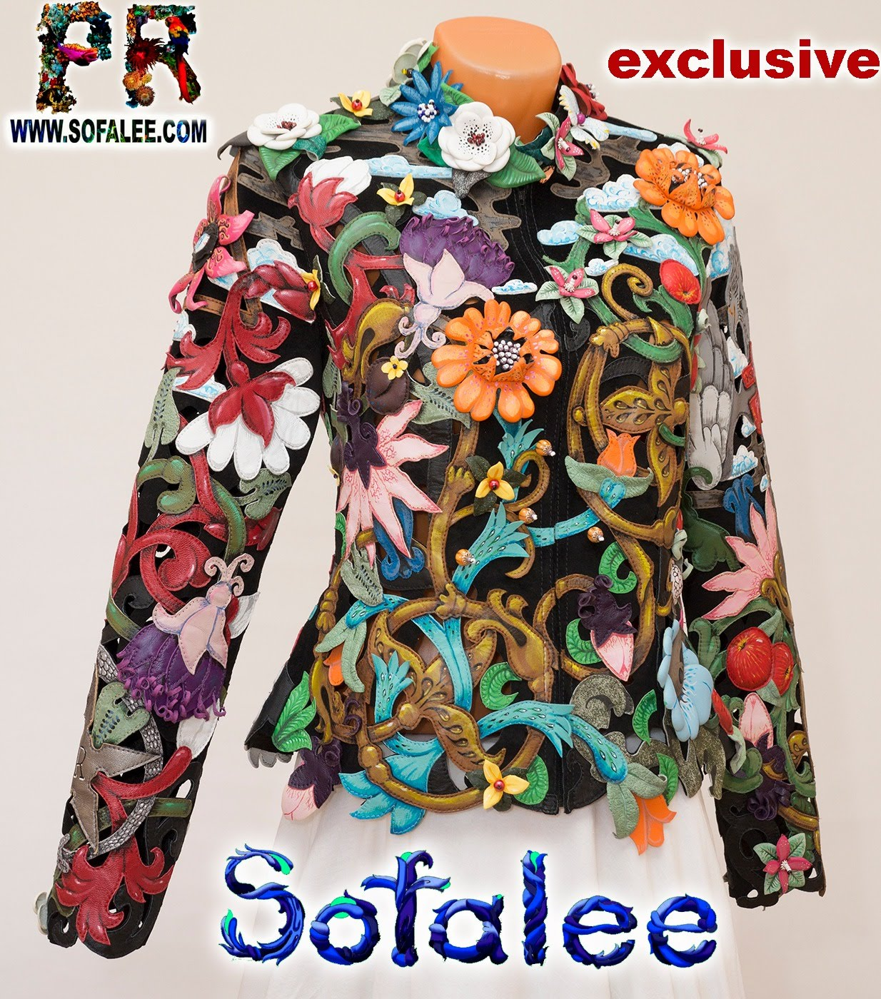 women's floral genuine leather perforation jacket by sofalee 16
