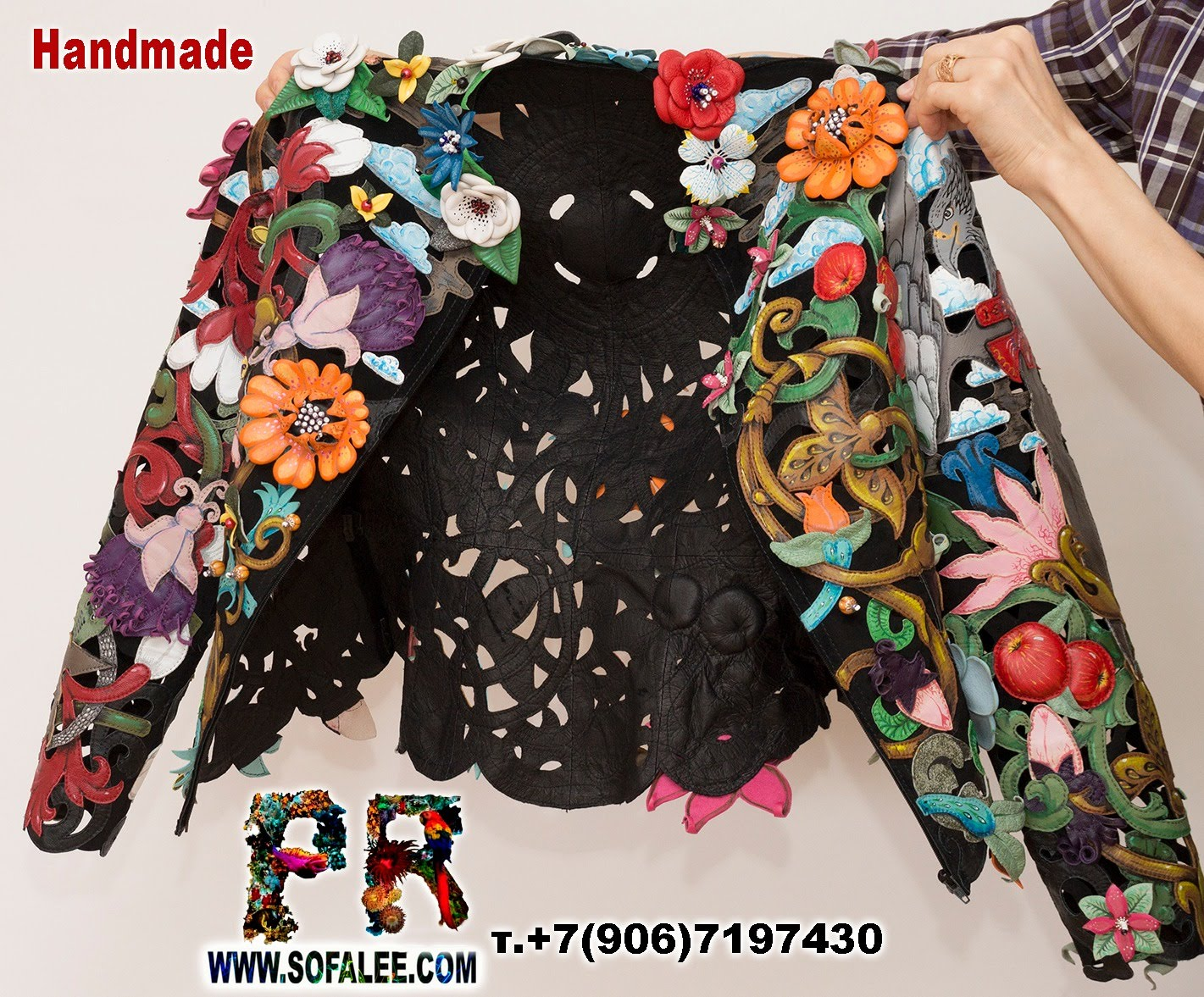 women's floral genuine leather perforation jacket by sofalee 15