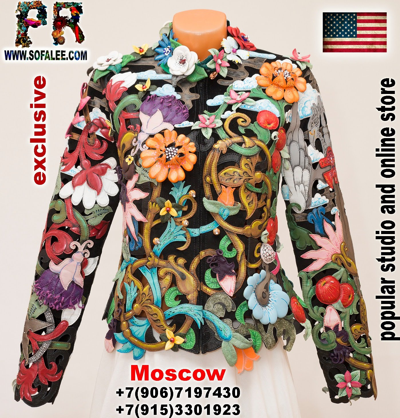 women's floral genuine leather perforation jacket by sofalee 1