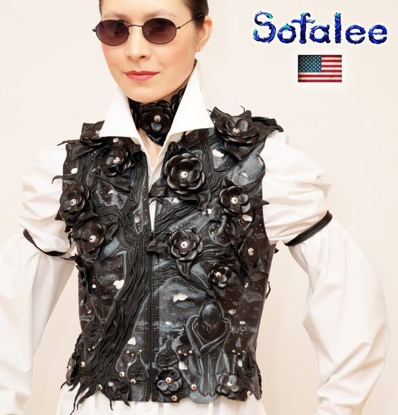 №217 Vest floral from the black genuine leather for women exclusive handmade by Sofalee.