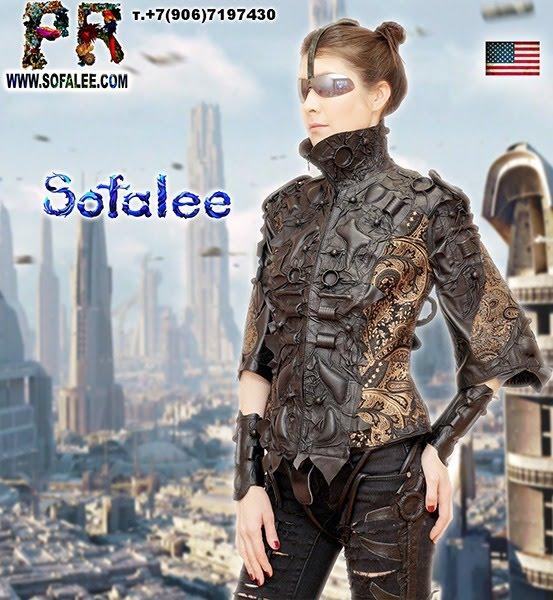 №242 Unique women's jacket genuine leather short sleeves