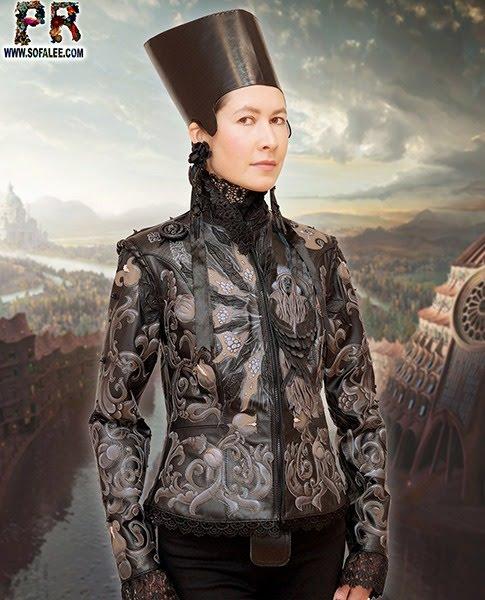 №244 Aristocratic style women's jacket black-gray.