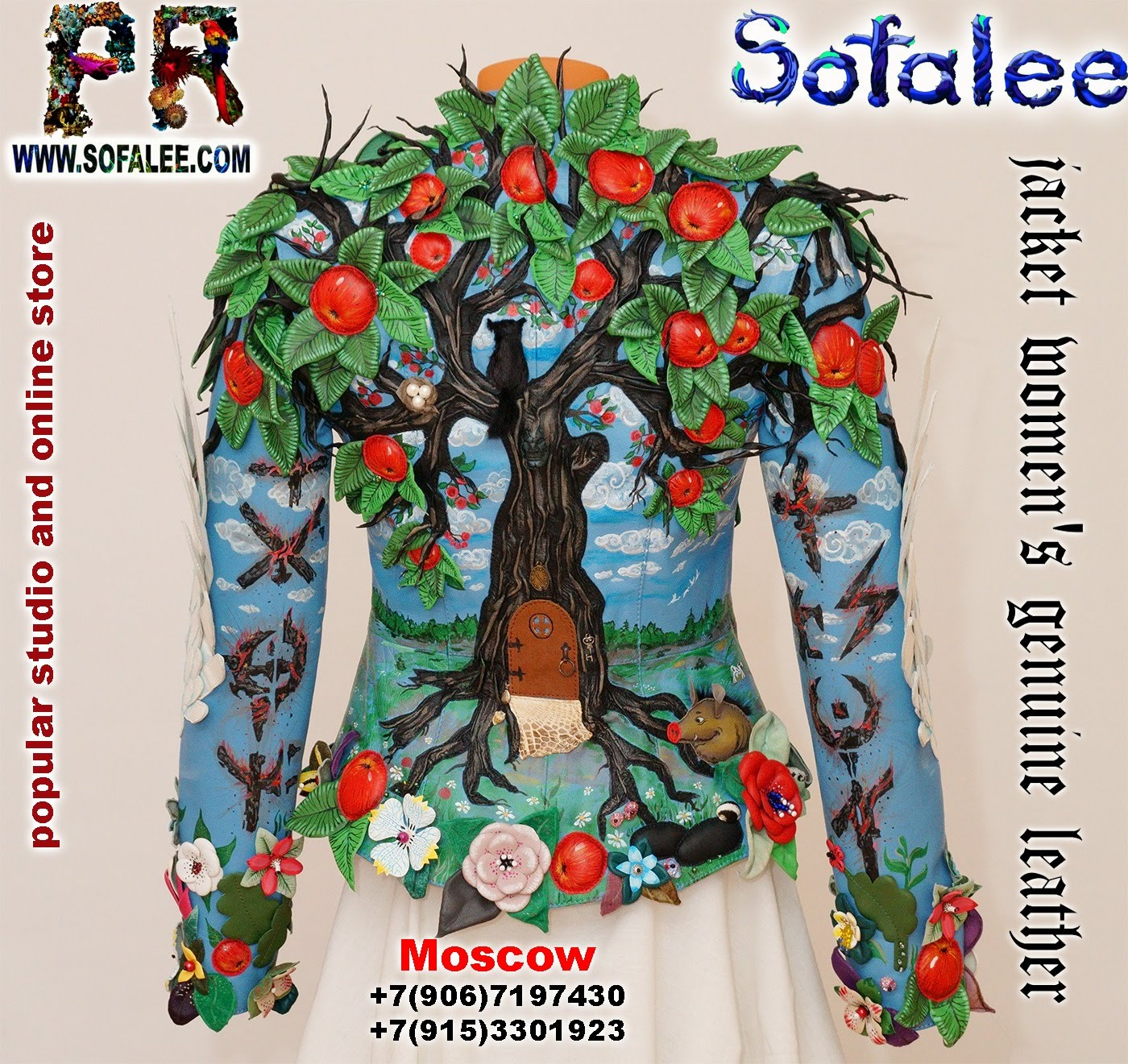 exclusive women's genuine leather jacket apple tree embroidered 006