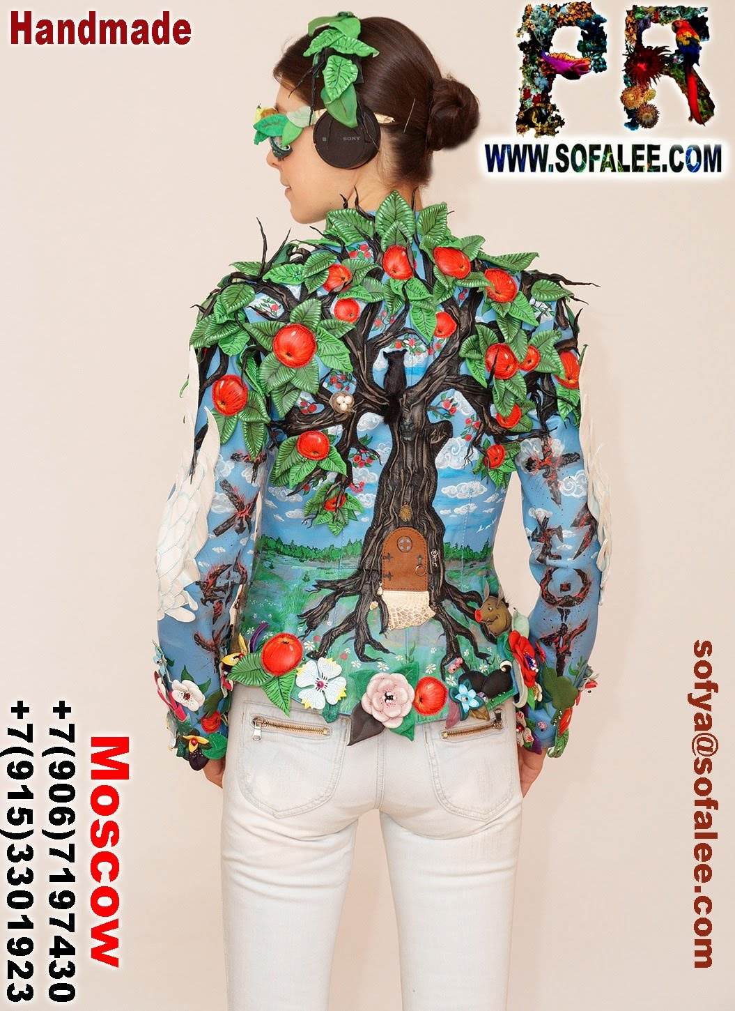 exclusive women's genuine leather jacket apple tree embroidered 004