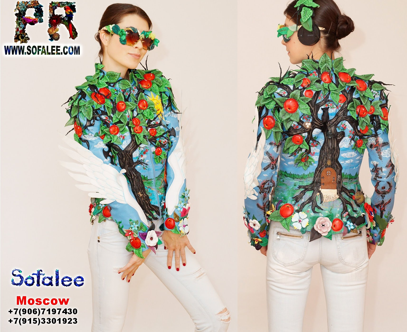 exclusive women's genuine leather jacket apple tree embroidered 00