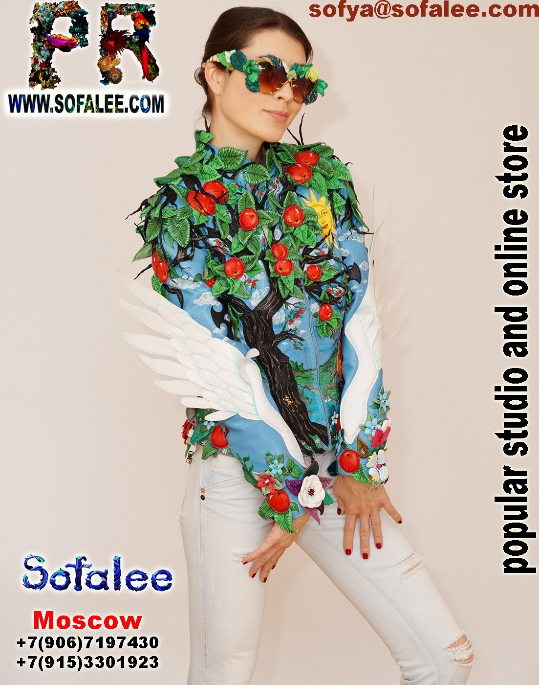 exclusive women's genuine leather jacket apple tree embroidered 008