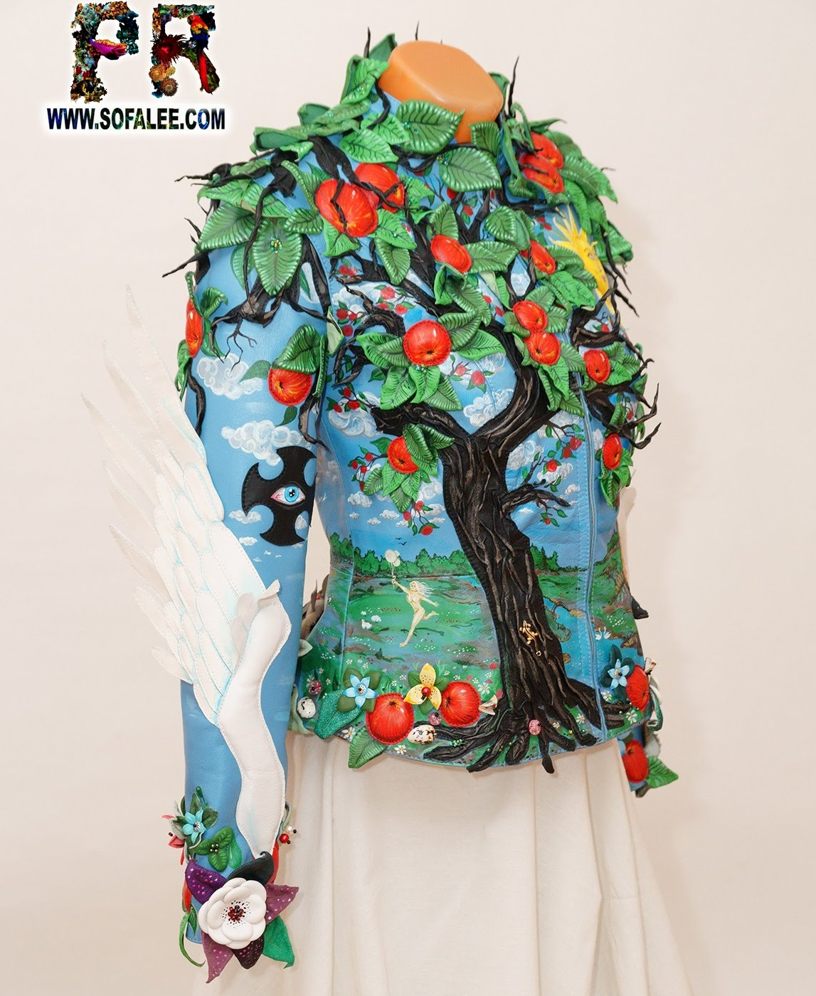exclusive women's genuine leather jacket apple tree embroidered 0012