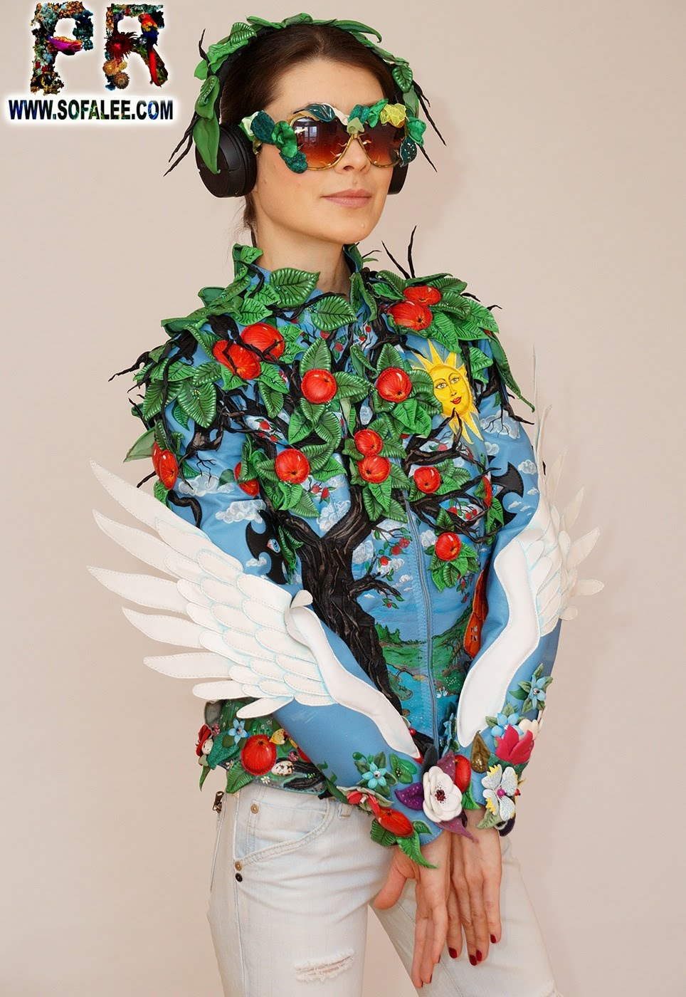 exclusive women's genuine leather jacket apple tree embroidered 011