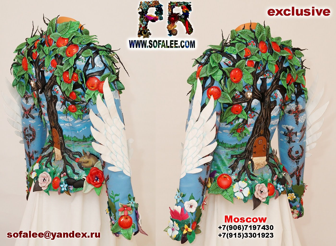 exclusive women's genuine leather jacket apple tree embroidered 0001