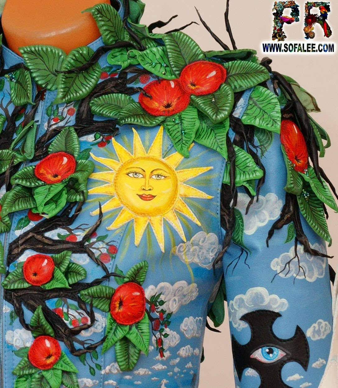 exclusive women's genuine leather jacket apple tree embroidered 0033