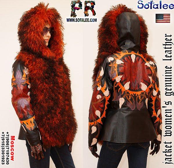 №250 Меховая куртка с капюшоном из кожи и ламы с вышивкой.